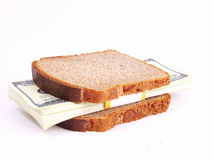 Monetary sandwich on a white background Stock Photography