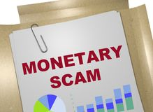 MONETARY SCAM concept. 3D illustration of MONETARY SCAM title on business document Stock Photography