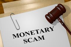 MONETARY SCAM concept. 3D illustration of MONETARY SCAM title on legal document Royalty Free Stock Image
