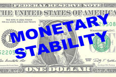 Monetary Stability concept. Render illustration of MONETARY STABILITY title on One Dollar bill as a background Royalty Free Stock Photo