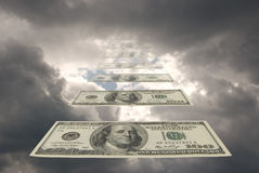 Monetary stream. To successful people money fall from the sky Stock Images