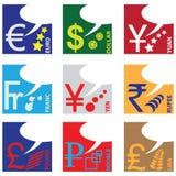 Monetary symbols. Of major world currencies. Vector illustration Stock Image