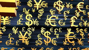 Monetary symbols. 3D animation, Dollar sing, Euro sing and Pond sing royalty free illustration