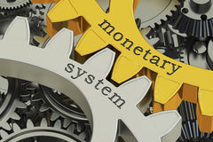Monetary system concept on the gearwheels, 3D rendering Stock Photography