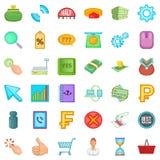 Monetary value icons set, cartoon style. Monetary value icons set. Cartoon set of 36 monetary value vector icons for web isolated on white background Stock Image
