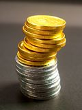 Monete 1 dell'euro Fotografia Stock Libera da Diritti