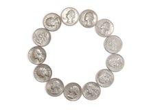 Monete americane quarte che formano un cerchio Fotografie Stock Libere da Diritti