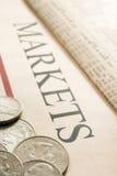 Monete americane su documento Fotografia Stock