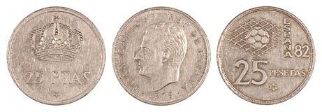 Monete antiche della peseta della Spagna Fotografie Stock