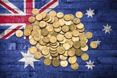 Monete australiane del dollaro della bandiera dei soldi Fotografie Stock