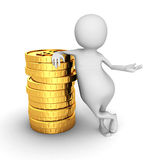 Monete bianche del dollaro di 3d Person With Stack Of Golden Fotografia Stock Libera da Diritti