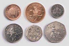Monete britanniche: code fotografie stock libere da diritti