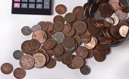 Monete britanniche di penny fotografie stock libere da diritti