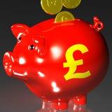 Monete che entrano in porcellino salvadanaio che mostra investimento britannico Immagine Stock