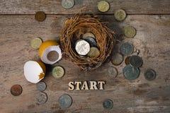 Monete con gli alfabeti di legno e guscio d'uovo per contare ed il concetto finanziario Fotografia Stock