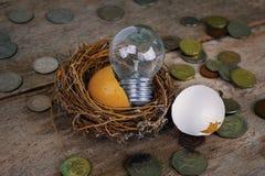Monete con la lampadina ed il guscio d'uovo per contare ed il concetto finanziario Fotografie Stock