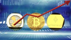 Monete cyber, ondulazione, bitcoin e ethereum, aumentando nel valore e nella popolarità illustrazione vettoriale