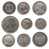 Monete d'argento antiche Fotografia Stock
