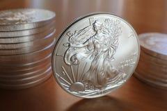 Monete d'argento dell'aquila Fotografie Stock