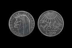 Monete d'argento di Dante Fotografie Stock