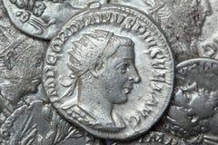 Monete d'argento romane - denaro Fotografia Stock Libera da Diritti