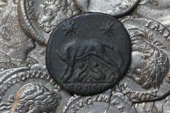 Monete d'argento romane - denaro Immagini Stock
