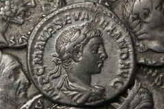 Monete d'argento romane - denaro Fotografie Stock Libere da Diritti