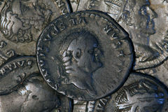 Monete d'argento romane - denaro Immagine Stock