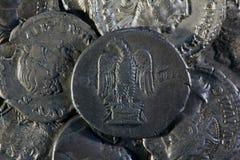 Monete d'argento romane - denaro Fotografie Stock