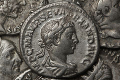 Monete d'argento romane - denaro Immagine Stock Libera da Diritti