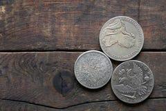 Monete d'argento russe antiche Fotografia Stock Libera da Diritti