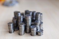 Monete d'argento ucraine Piramide di soldi Immagine Stock Libera da Diritti