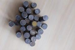 Monete d'argento ucraine Piramide di soldi Immagine Stock
