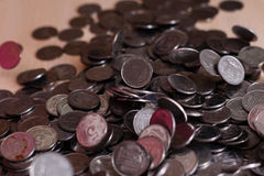 Monete d'argento ucraine Piramide di soldi Immagini Stock Libere da Diritti