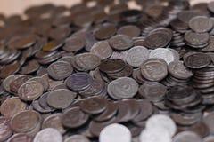 Monete d'argento ucraine Piramide di soldi Fotografia Stock Libera da Diritti