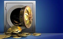 monete 3d sopra il blu Immagine Stock