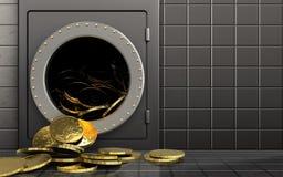 monete 3d sopra la parete d'acciaio Fotografia Stock