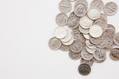 Monete da dieci centesimi di dollaro orizzontali Fotografia Stock