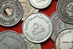 Monete degli Emirati Arabi Uniti Immagini Stock