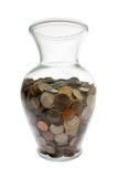 Monete degli Stati Uniti raccolte in vaso di vetro Fotografie Stock Libere da Diritti