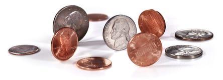 Monete degli Stati Uniti su bianco Fotografie Stock Libere da Diritti