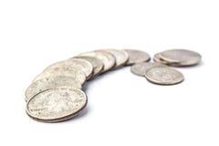 Monete degli Stati Uniti su un fondo bianco isolato Immagine Stock Libera da Diritti