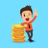 Monete dei soldi e dell'uomo d'affari Fotografia Stock