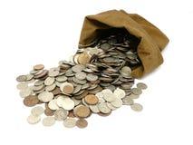 Monete dei soldi in sacchetto Fotografia Stock Libera da Diritti