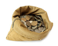 Monete dei soldi in sacchetto Immagini Stock