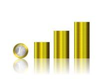 Monete dei soldi sul vettore bianco del fondo Fotografia Stock
