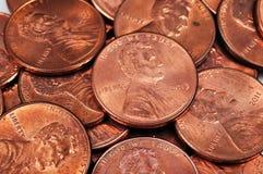 Monete del centesimo fotografia stock libera da diritti