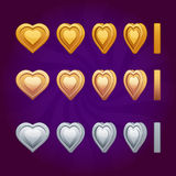 Monete del cuore di animazione di rotazione Immagine Stock