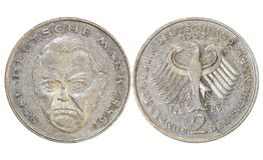 Monete del ` dei paesi vecchie, anno 1976, Germania fotografie stock libere da diritti
