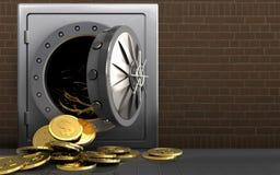 monete del dollaro 3d sopra i mattoni Immagini Stock Libere da Diritti